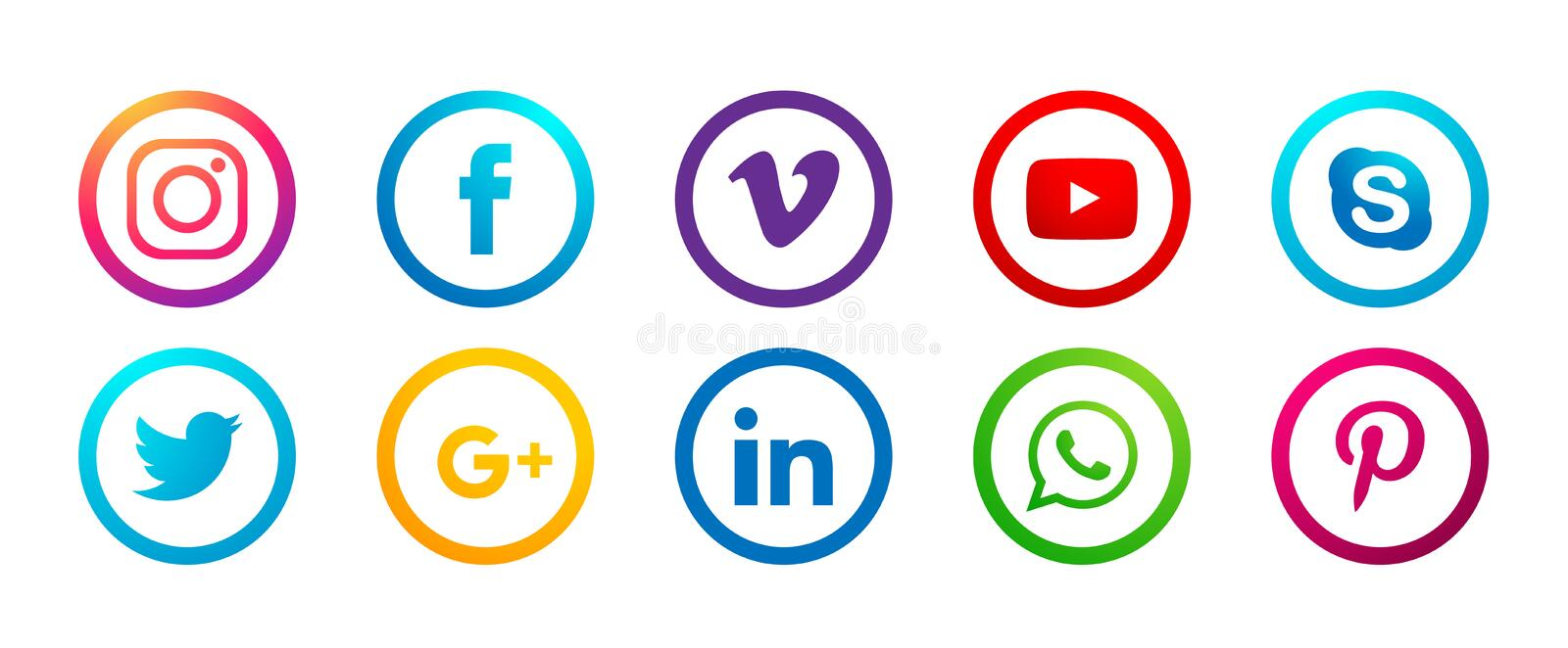 Set of popular social media logos icons Instagram Facebook Twitter Youtube WhatsApp vimeo pinterest linkedin  element vector stock illustration