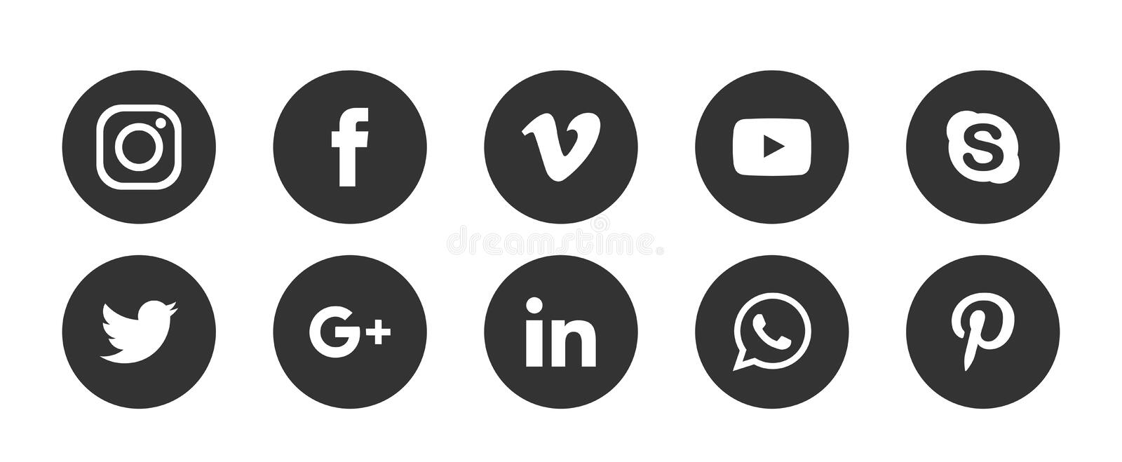 Set of popular social media logos icons Instagram Facebook Twitter Youtube WhatsApp vimeo pinterest linkedin  element vector royalty free illustration