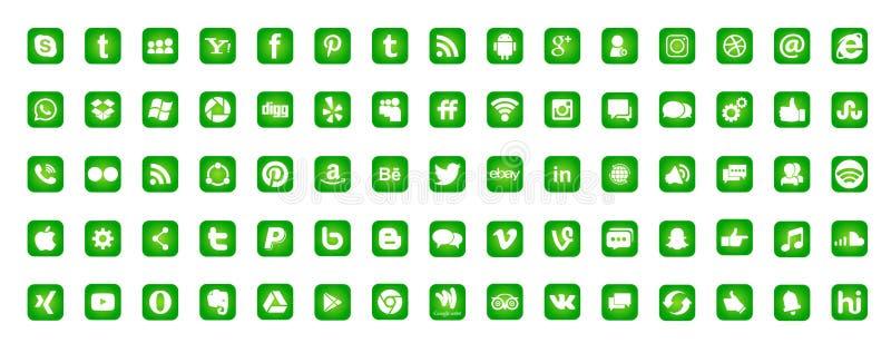 Set popularne ogólnospołeczne medialne logo ikony Instagram Facebook Twitter Youtube WhatsApp LinkedIn Pinterest Blogd na białym  ilustracja wektor