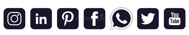 Set popularne og?lnospo?eczne medialne logo ikony w czarnym Instagram Facebook Twitter Youtube WhatsApp elementu wektorze na bia? ilustracja wektor
