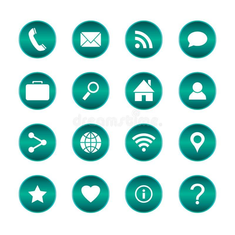 Set popularne sieci ikony Wektorowi okregów guziki z podstawowymi ikonami Odosobniony tło royalty ilustracja