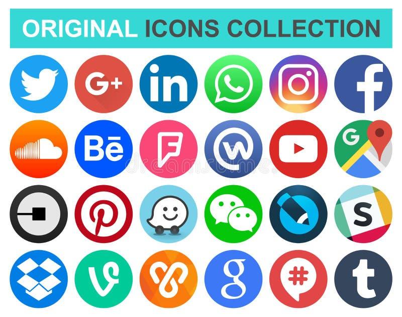 Set popularnego okręgu medialne i inne ogólnospołeczne ikony ilustracji