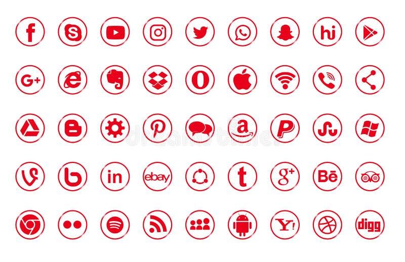 Set popularni ogólnospołeczni medialni logo, ikony czerwony Instagram, Facebook, Twitter, Youtube, WhatsApp, LinkedIn, Pinterest, ilustracja wektor