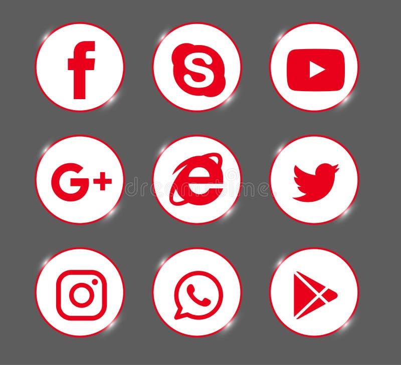 Set popularni ogólnospołeczni medialni logo, ikony czerwony Instagram, Facebook, Twitter, Youtube, WhatsApp, royalty ilustracja