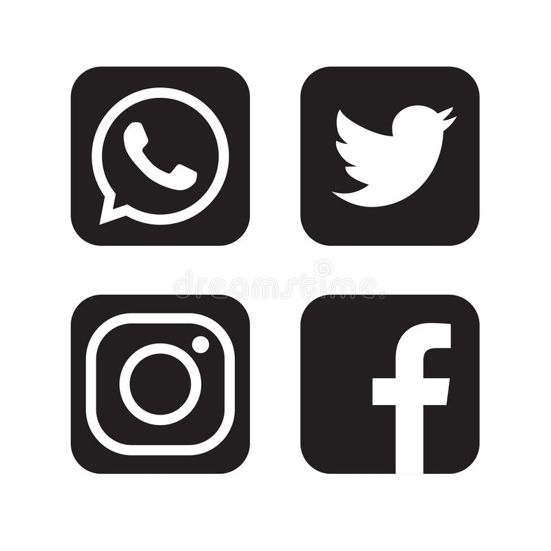 Set popularni og?lnospo?eczni medialni logo, ikony facebook instagram ?wiergotu Youtube whatsapp ilustracja wektor