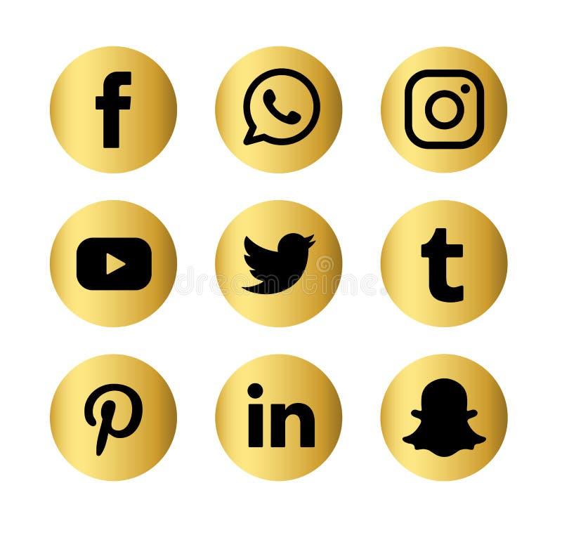 Set popularnych og?lnospo?ecznych medialnych log?w sieci wektorowa ikona Internet, facebook royalty ilustracja