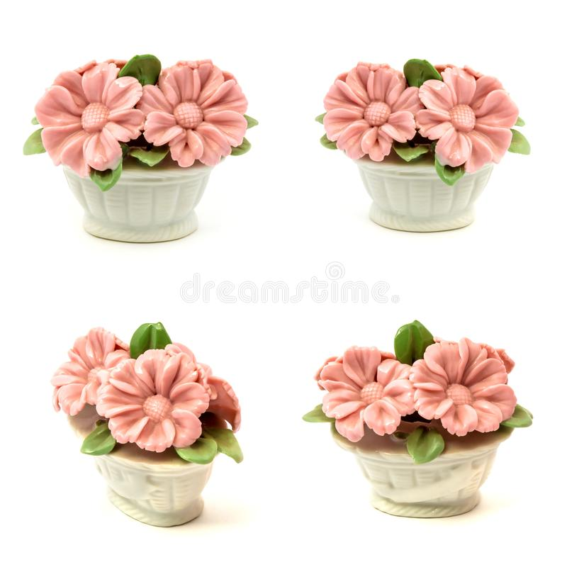 Porcelain figurines baskets of flowers for the decoration of interiors stock photos