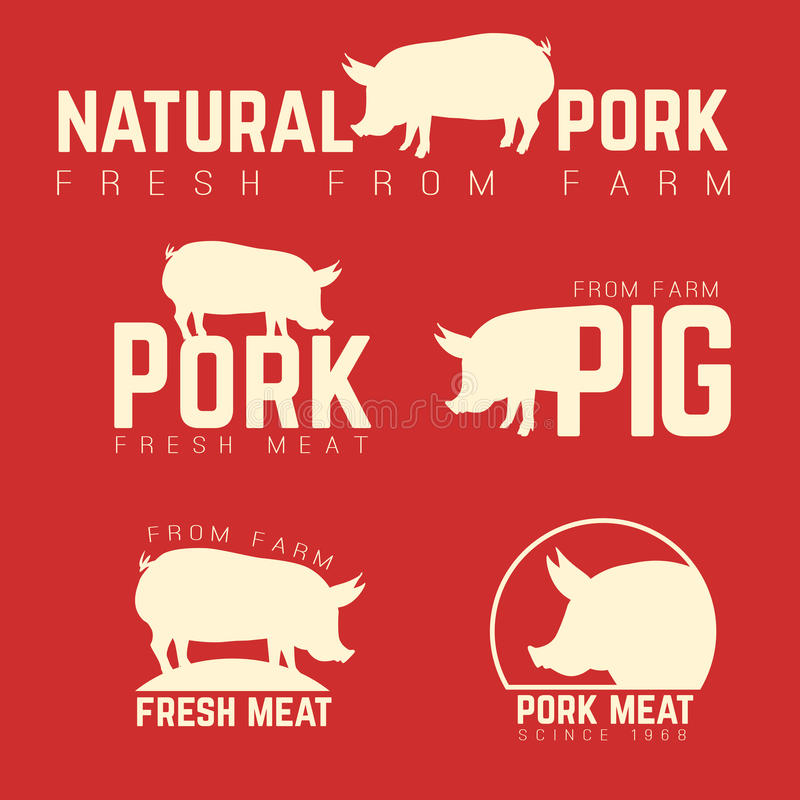 Set of pork emblems, logotypes and labels isolated stock illustration