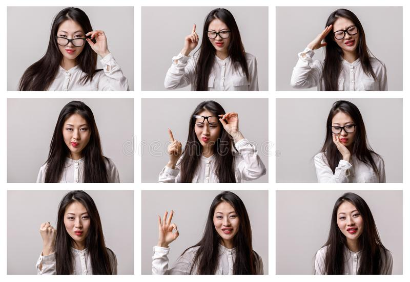Set of portraits of asian woman with different emotions royalty free stock image