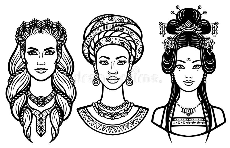 Set portret młode piękne kobiety różni kraje ilustracji