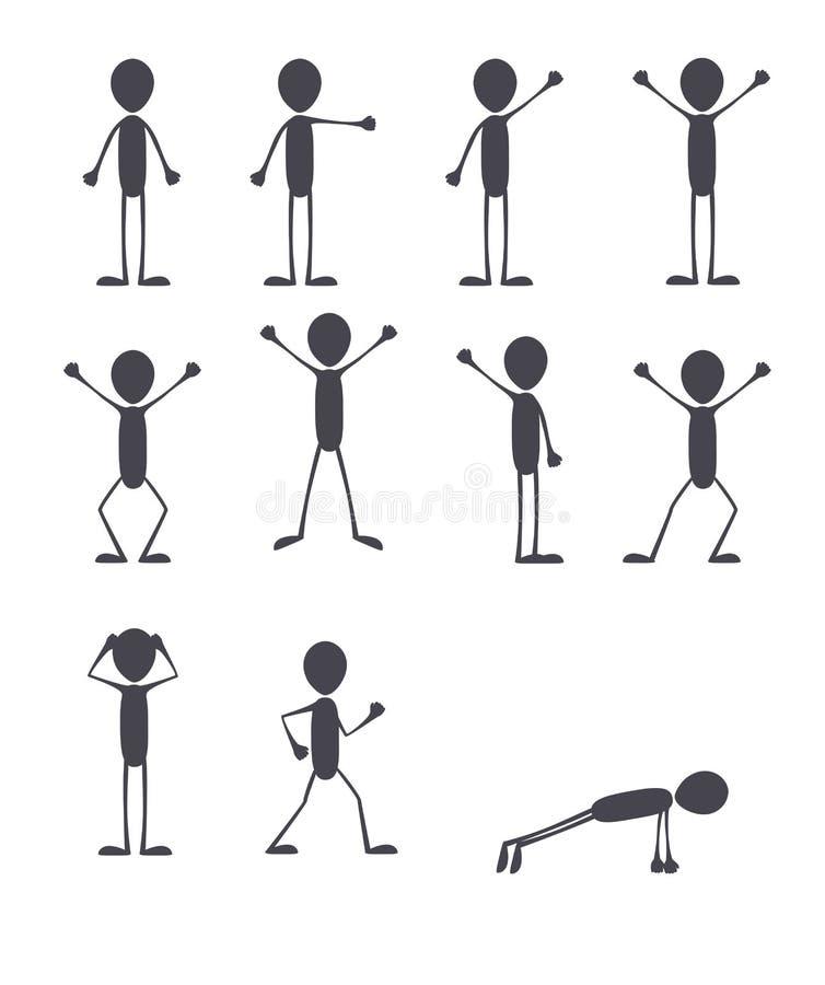 Set poses cartoon vector man royalty free illustration