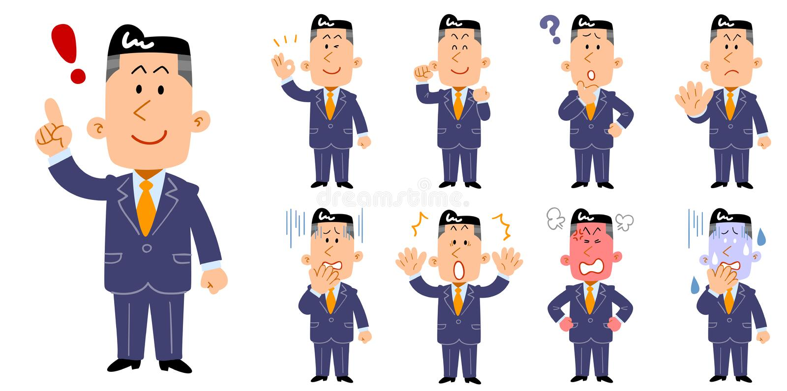 Set of 9 poses and facial expressions of young adults. Wearing suit stock illustration