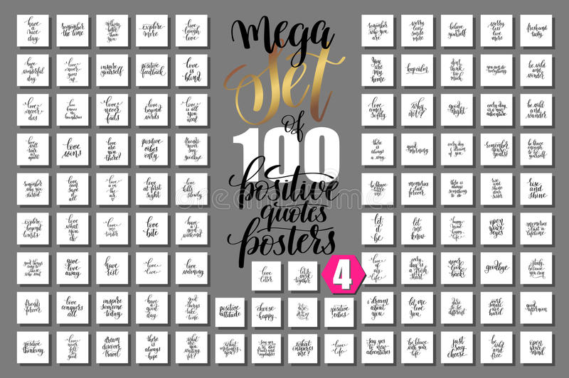 Download Set Of 100 Positive Quotes Posters About Love And Life Stock  Vector   Illustration Of