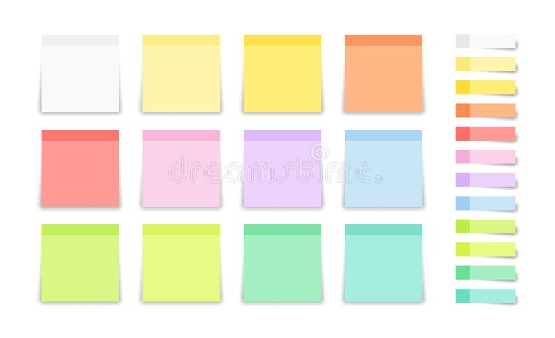 Set of post note sticker and square stickers. Blank colorful sticky notes. Office blanks, reminder lists collection. Vector stock illustration