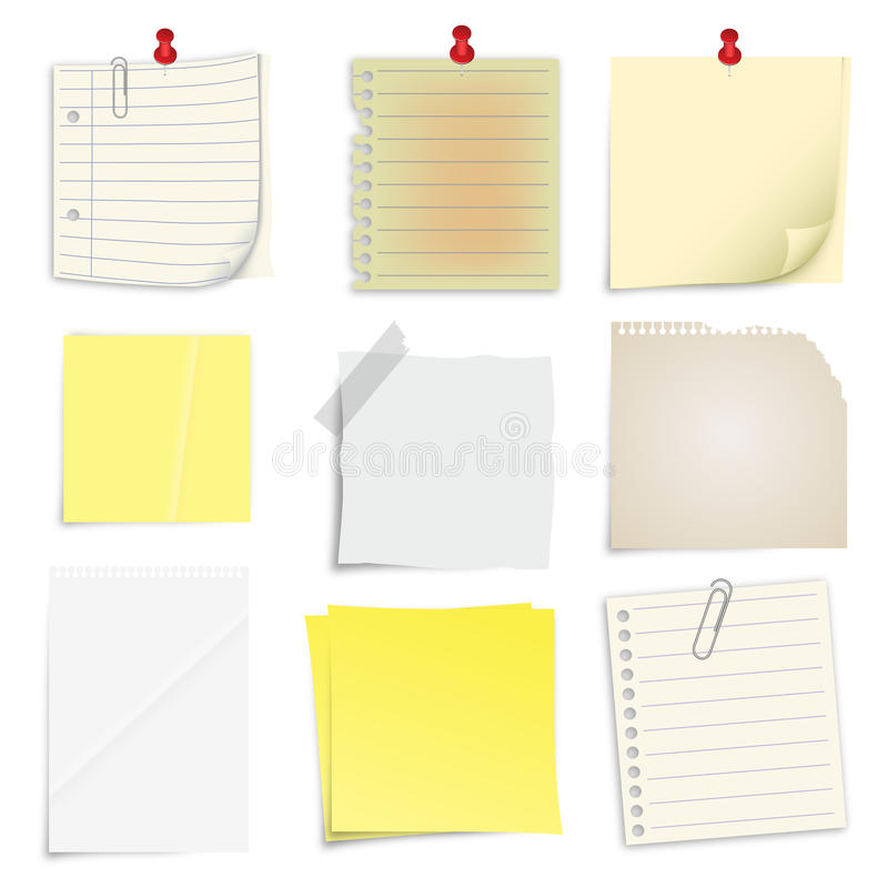 Set of post it notes royalty free illustration