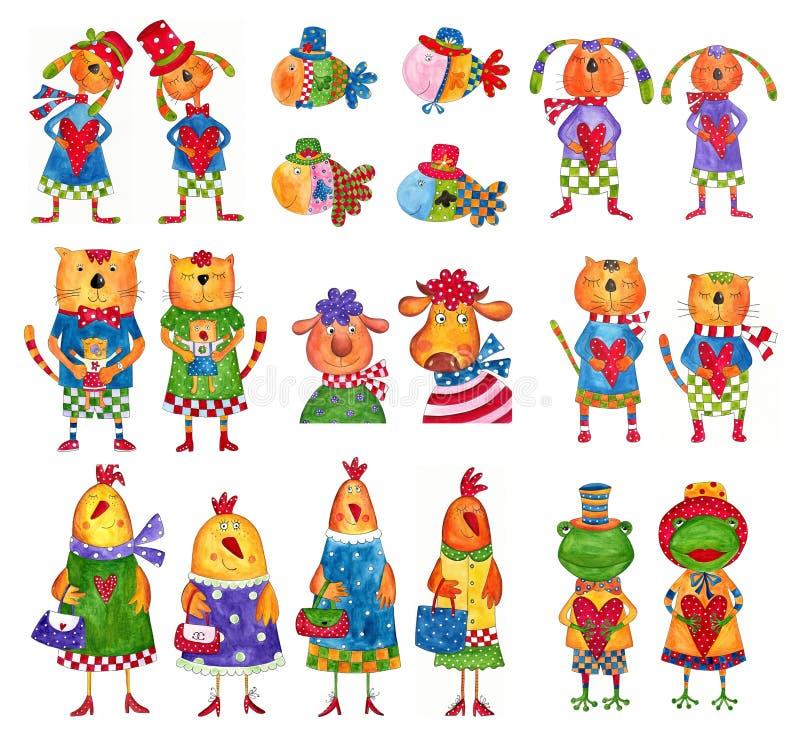 Set postać z kreskówki ilustracji