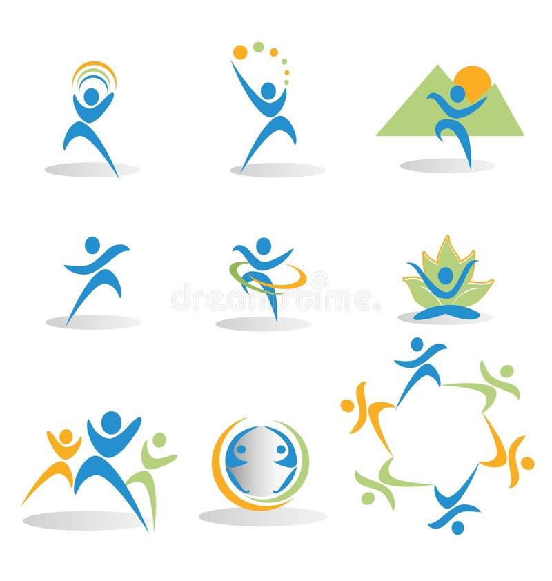 Set postacie w biznesowych i ogólnospołecznych ikona logach royalty ilustracja