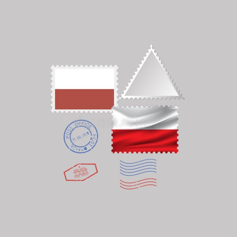 POLAND flag postage stamp set, isolated on gray background, vector illustration. 10 eps vector illustration