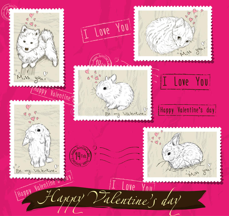 Download Set Of Postage Stamps About Love. Stock Illustration - Illustration of collection, graphic: 34751245