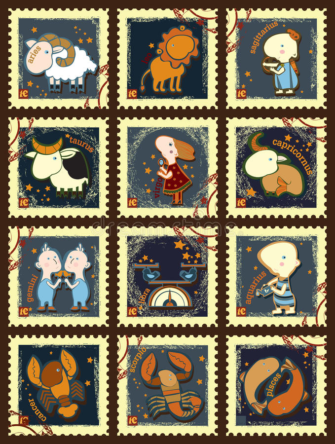 Set of postage stamps with zodiac sings. Set of postage stamps contains images of different zodiac signs,postage stamps and text. Set of postage stamps.Scrap stock illustration