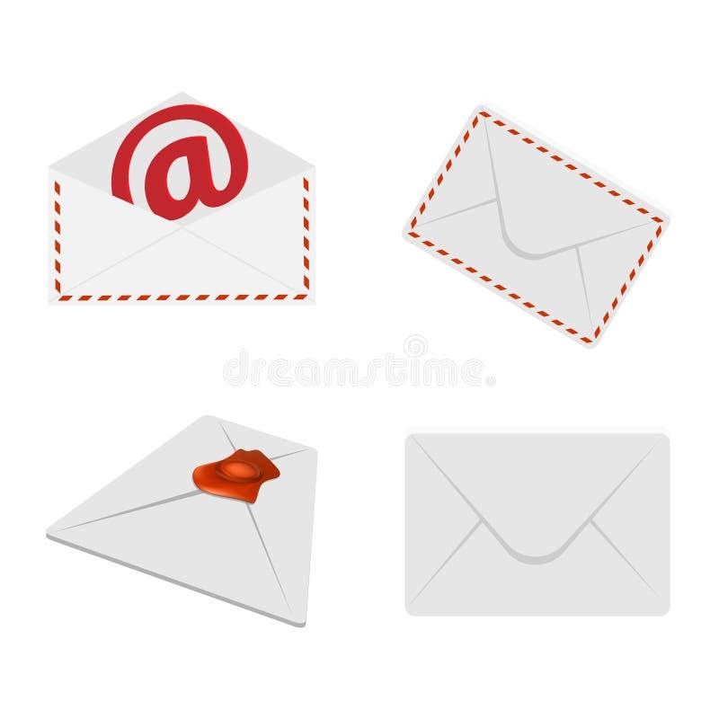 Set of postal envelopes stock illustration