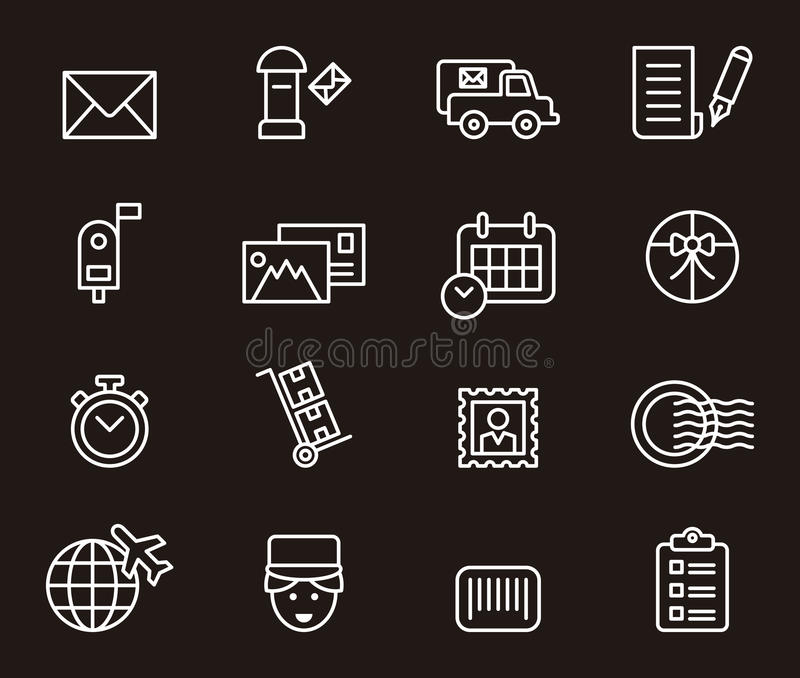 Set of postal related icons. Illustrated set of outline icons relating to the postal service stock illustration