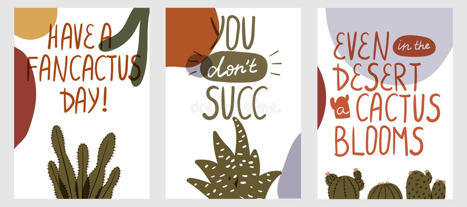 Set of postcards with succulents. Poster with cactus. Succulent lettering. Vector illustration vector illustration