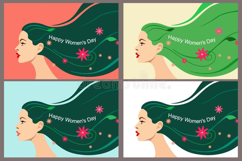 Set of postcards for Women`s Day March 8. Beautiful head of a girl with flowing bright hair with leaves, flowers and text. Vector royalty free illustration