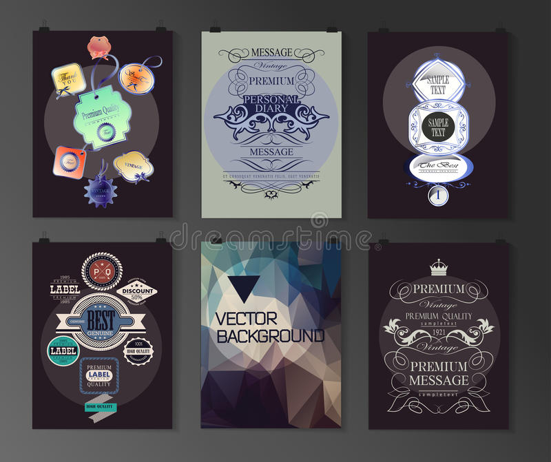 Set of poster, flyer, brochure design templates. In different styles. Calligraphic and labels. Retro vintage design royalty free illustration