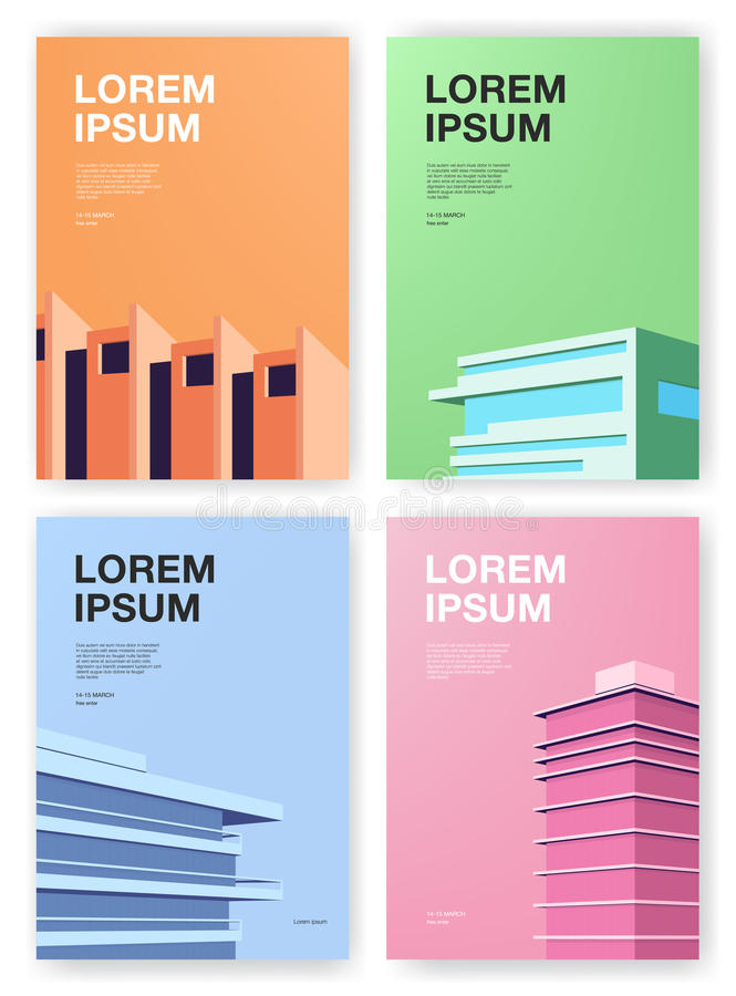 Set of posters. Backgrounds with abstract architecture. Vertical placard with place for text. Colorful vector stock illustration