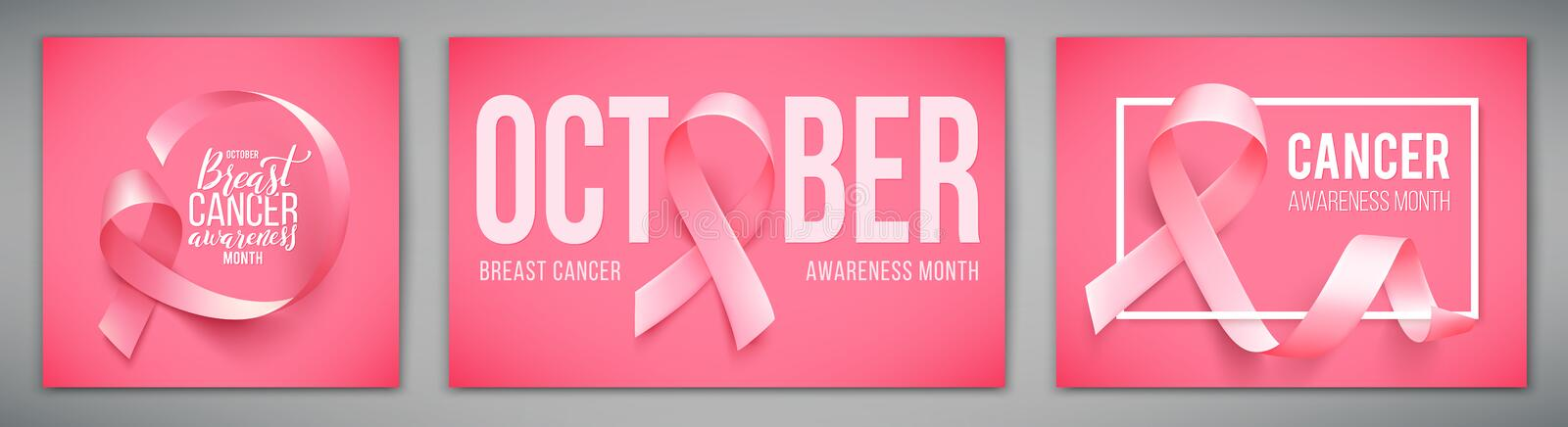 Set of posters with for breast cancer awareness month in october. Realistic pink ribbon symbol. Vector illustration. royalty free illustration
