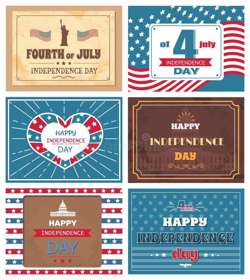 Set Posters 4 July Independence Day Holiday of USA royalty free illustration