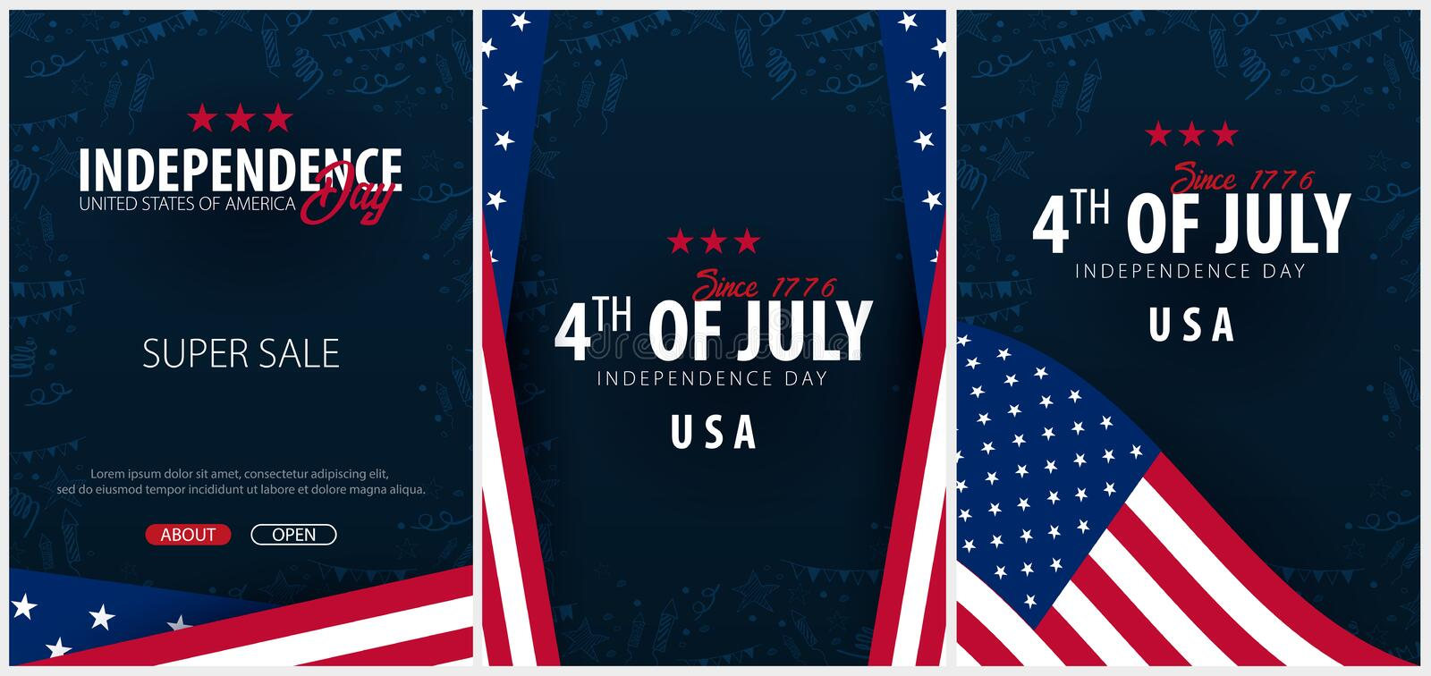Set Posters of Fourth of July. 4th of July. Independence Day of the USA. Vector illustration. Set Posters of Fourth of July. 4th of July. Independence Day of stock illustration