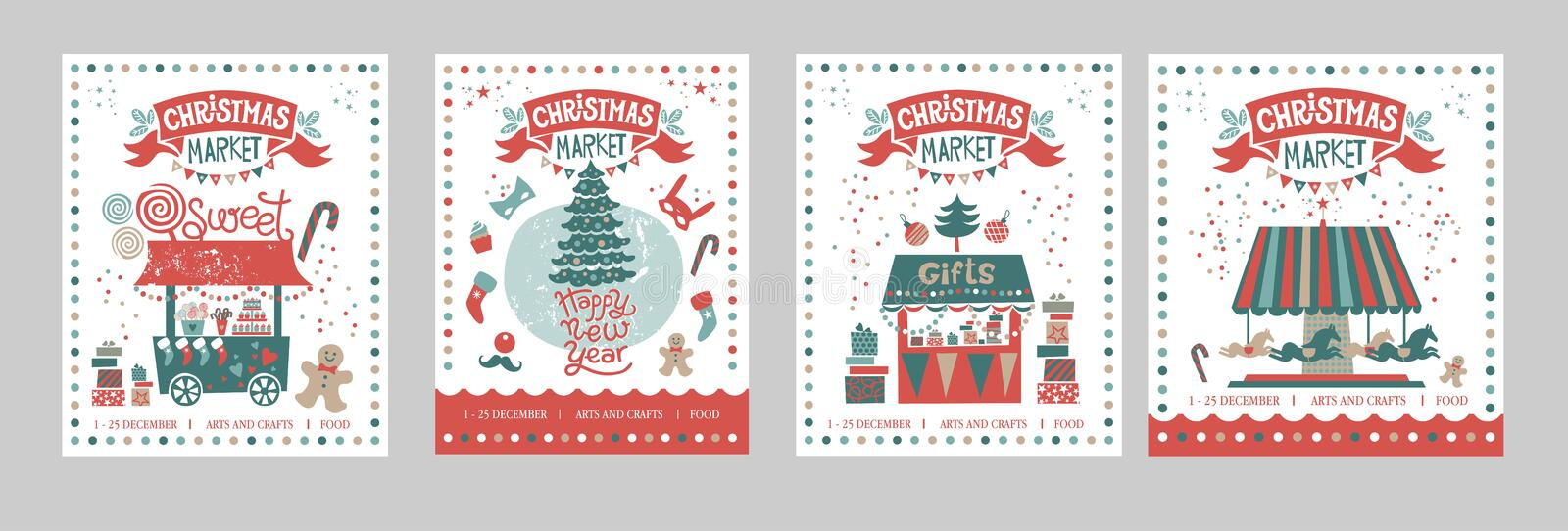 A set of posters or postcards Christmas market, Happy New year. And Christmas with festive decor, garlands, gifts, a carousel with horses, Christmas sweets royalty free illustration
