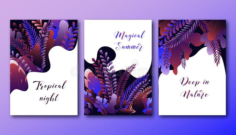 Set of posters template with bright gradient forest leaves and text. Magical forest summer night. Modern design vector illustration stock illustration