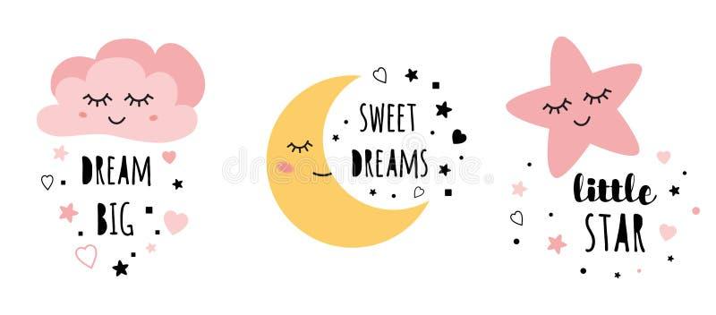 Vector pink sleepy moon star cloud kids designs Childish style pink color royalty free illustration