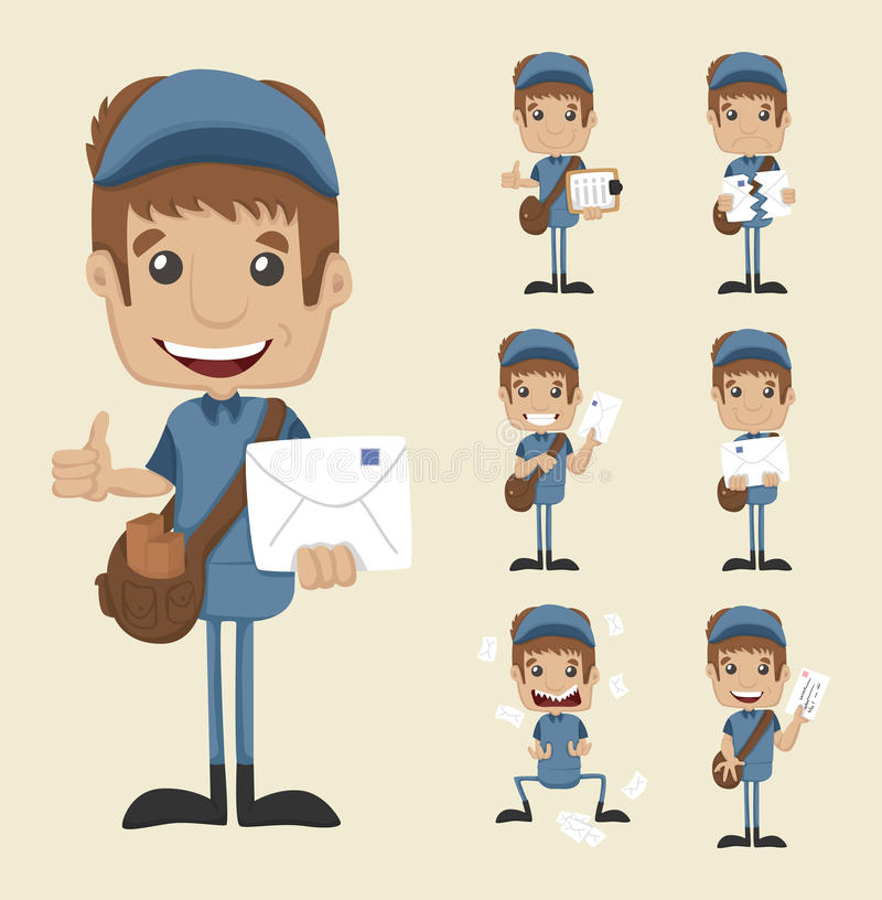 Download Set of postman stock vector. Illustration of happiness - 39511419