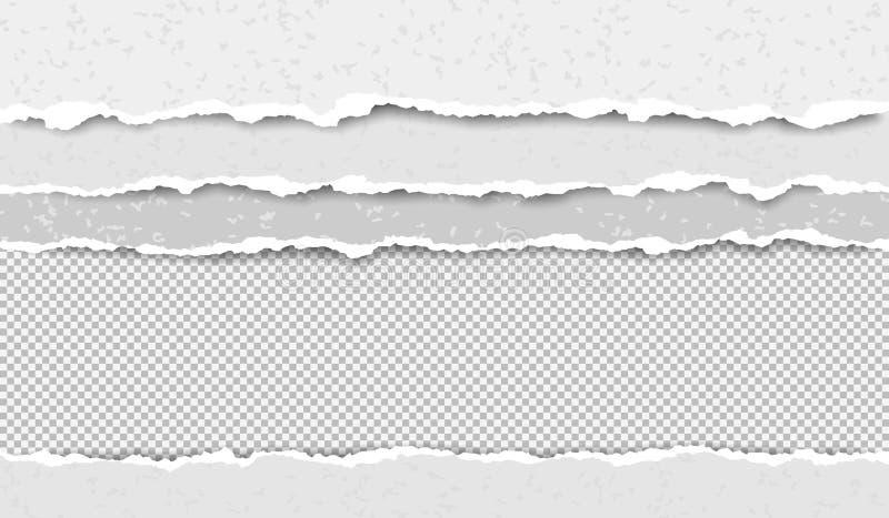 Set poszarpani, rozdzierający puści słoiści papierowi paski z miękkim cieniem, jest na ciosowym tle Wektorowa szablon ilustracja ilustracji