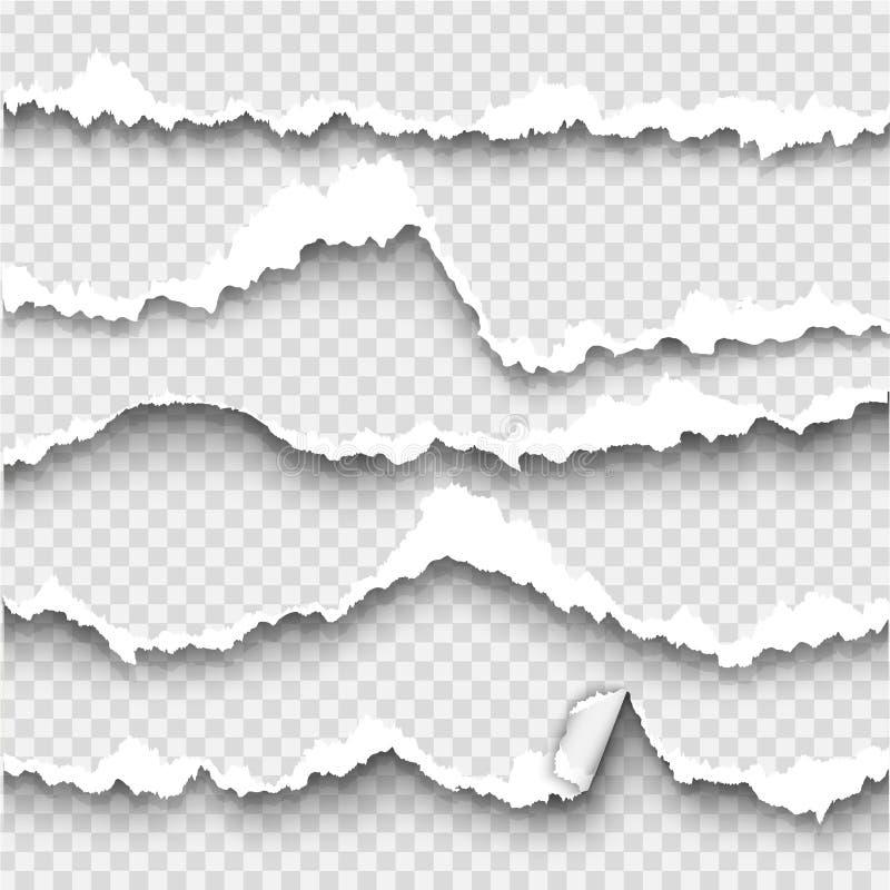 Set poszarpany papier na przejrzystym tle ilustracji