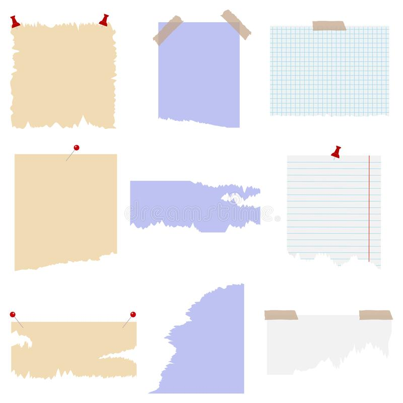Set poszarpany papier z różnymi thumbtacks elementy scrapbooking rocznika ilustracja wektor