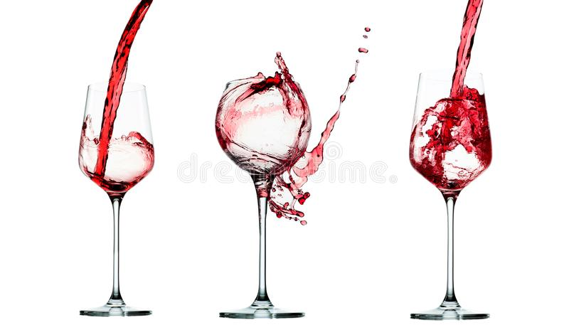 Set of Pouring red wine in glass goblet isolated on white royalty free stock image