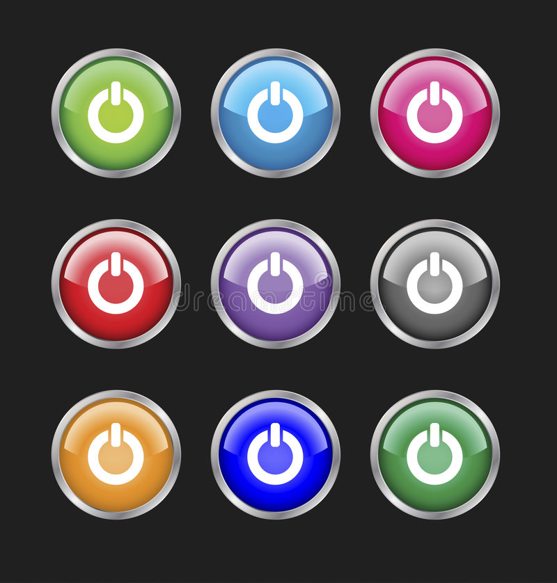 Download Set of power buttons. stock vector. Illustration of graphic - 7726720