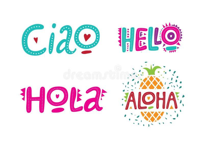 Set powitań słowa w różnych językach, cześć, hola, ciao, aloha royalty ilustracja