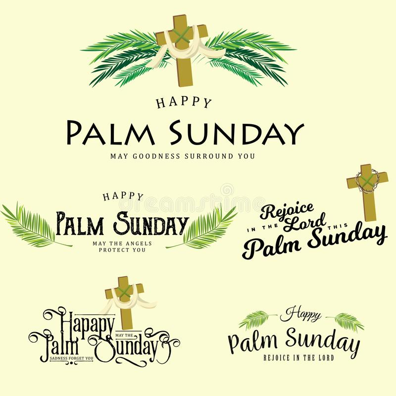 Set powitanie logowie dla religii wakacyjna palmowa Niedziela przed Easter, karty dla świętowania wejścia Jezus w ilustracji