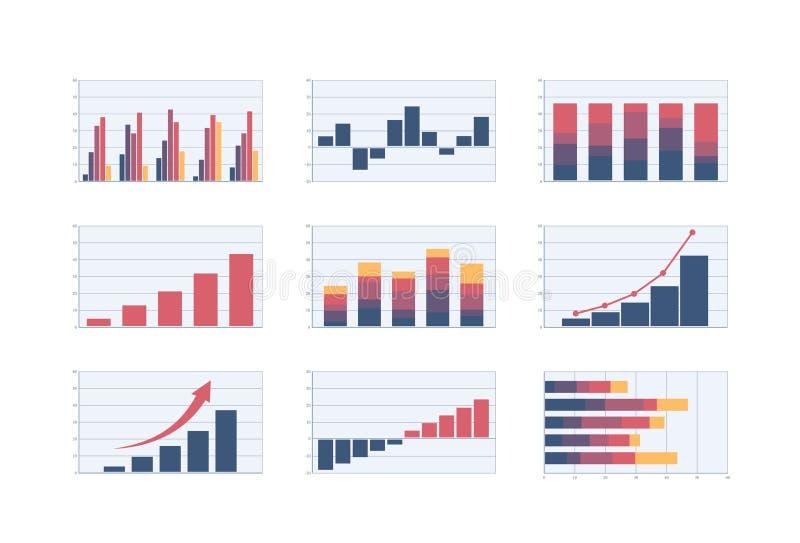 Set prętowe mapy wektorowi kolor biznesowej analizy wykresu szpaltowi wizerunki royalty ilustracja