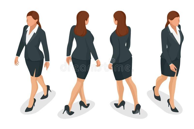 Set pracować eleganckie biznesowe kobiety w formalnym odziewa Na białym tle Tworzy twój isometric osoby dla wektoru ilustracja wektor