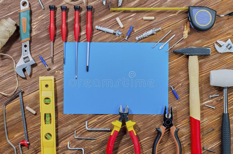 Set pracujący narzędzia dla robić gospodarstwo domowe obowiązek domowy obraz stock