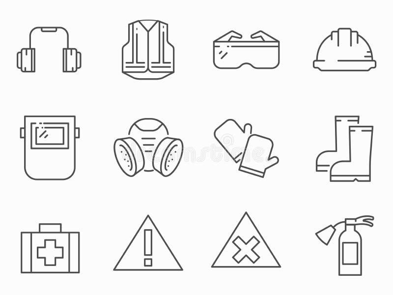 Set pracy bezpieczeństwa linii wektoru ikony ilustracji