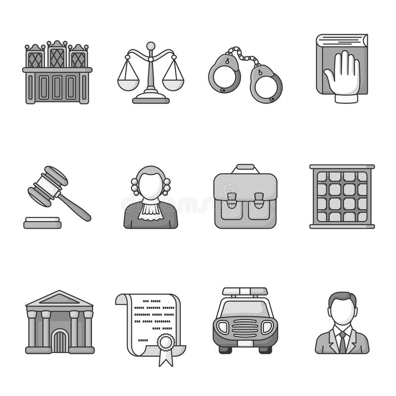 Set prawa i sprawiedliwości ikony Czarny I Biały zarysowana ikony kolekcja Systemu Sądowego pojęcie ilustracja wektor