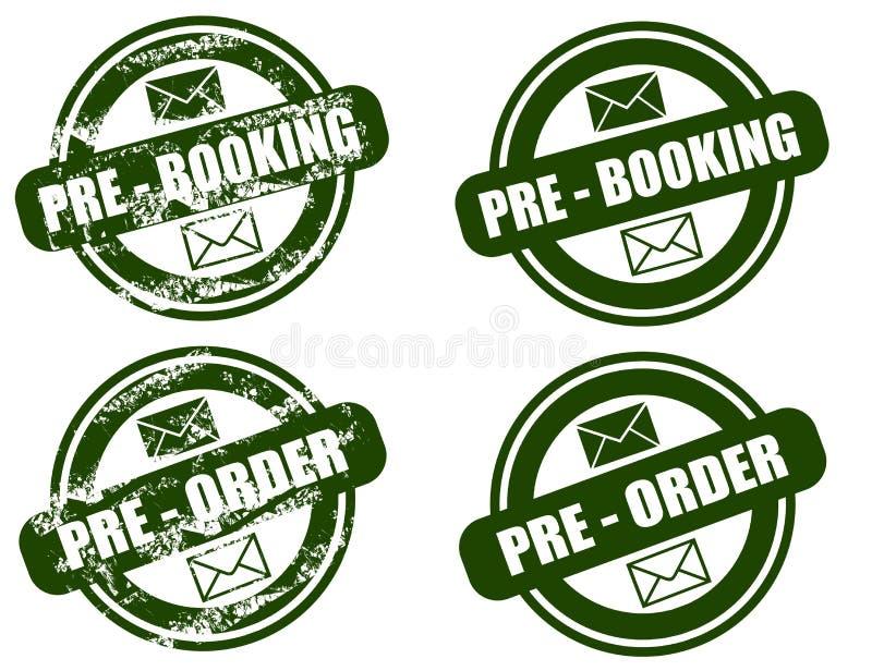 Set Pre för boka/beställningsgrungestämpel stock illustrationer
